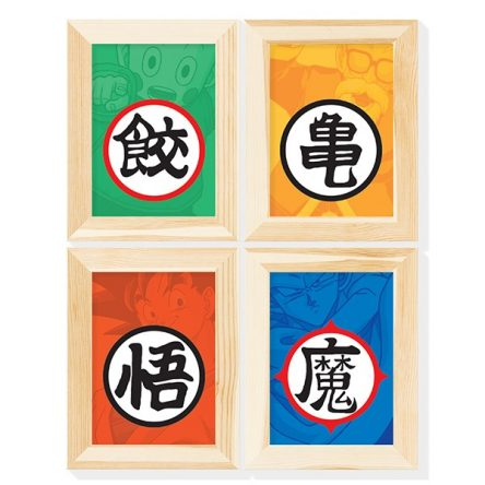 Kit 4 Posteres Kanjis dos Mestres – Dragon Ball