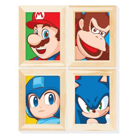 Kit 4 Posteres Heróis dos Games